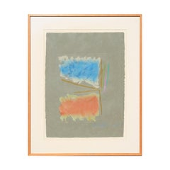 """Untitled"" Blue and Orange Color Field Abstract Monotype on a Grey Background"