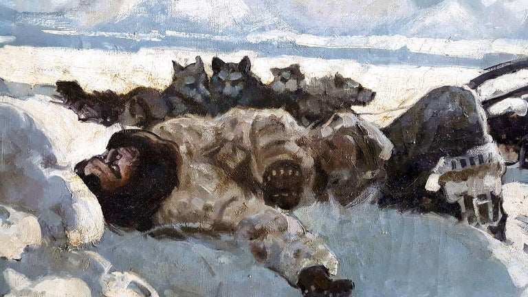 Alaskan Huskie. The Howl of the Malemute Arctic Scene - Gray Landscape Painting by Dan Content