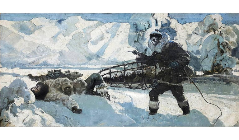 Dan Content Landscape Painting - Alaskan Huskie. The Howl of the Malemute Arctic Scene