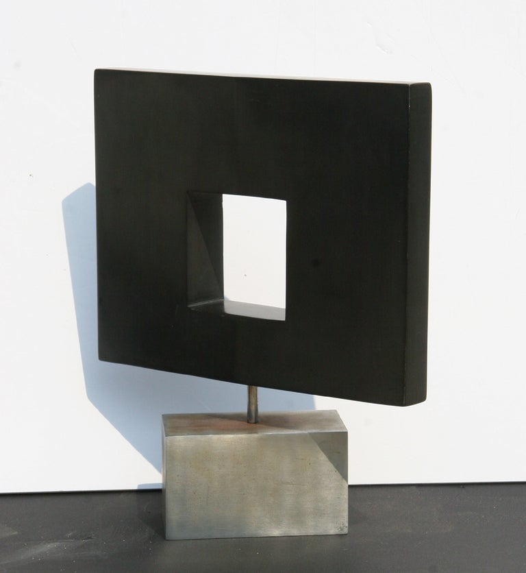 Rotating Abstract Square, Stone Table Top Sculpture - Gray Abstract Sculpture by Dan Content