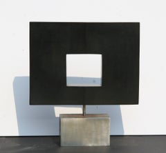 Rotating Abstract Square, Stone Table Top Sculpture