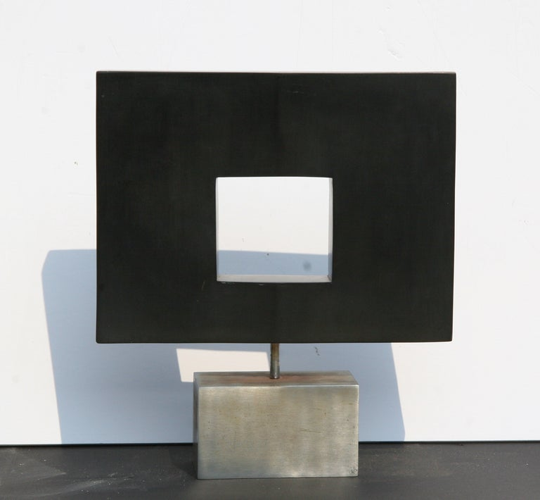 Dan Content Abstract Sculpture - Rotating Abstract Square, Stone Table Top Sculpture