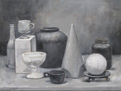 Gray Cone, Painting, Acrylic on Canvas