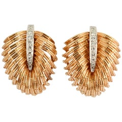 Dan Frere Gold Diamond Leaf Earrings