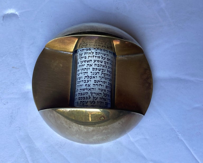 Pressed Dan Givon, Mezuzah with Case and Roll in Brass, Signed, Dated For Sale