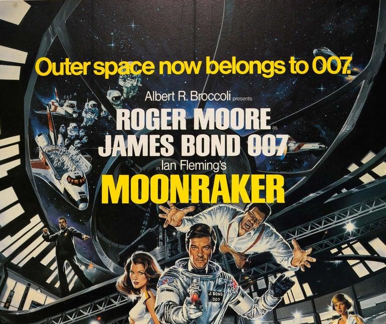 Original Vintage James Bond Film Poster Moonraker Outer Space Now Belongs To 007 - Print by Dan Goozee