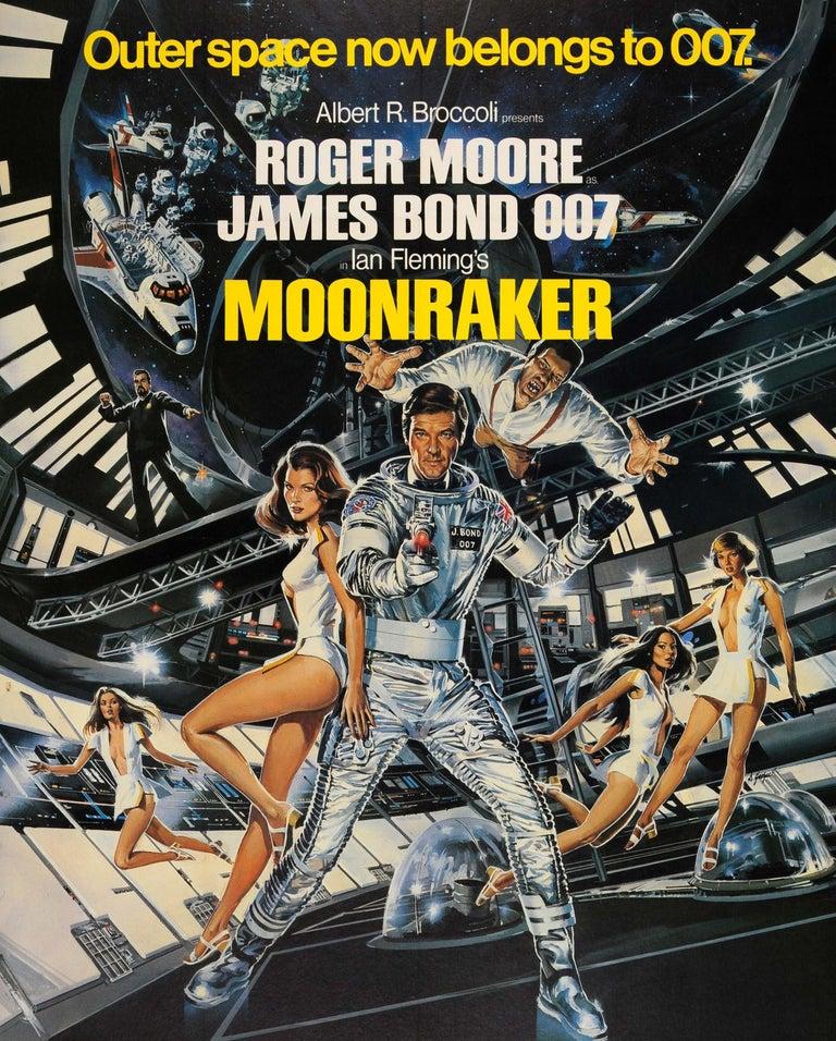 Original Vintage James Bond Film Poster Moonraker Outer Space Now Belongs To 007 - Black Print by Dan Goozee