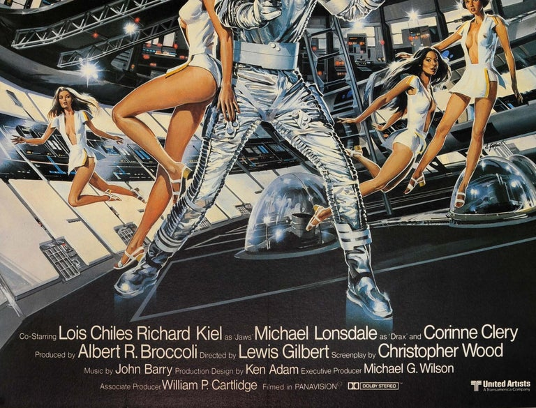 Original vintage cinema poster for the 007 James Bond movie Moonraker starring Roger Moore, Lois Chiles (Holly Goodhead), Michael Lonsdale (Hugo Drax) and Richard Kiel (Jaws) - Outer space now belongs to 007 - directed by Lewis Gilbert. Great image