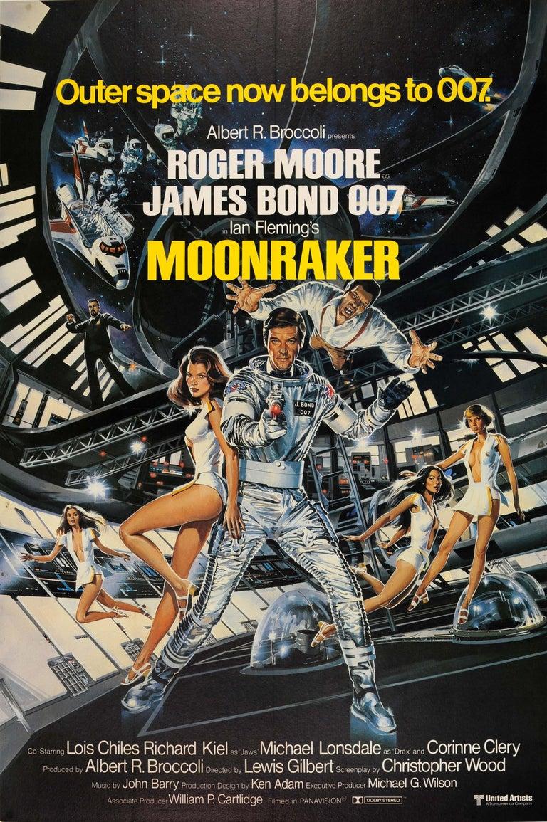 Dan Goozee Print - Original Vintage James Bond Film Poster Moonraker Outer Space Now Belongs To 007