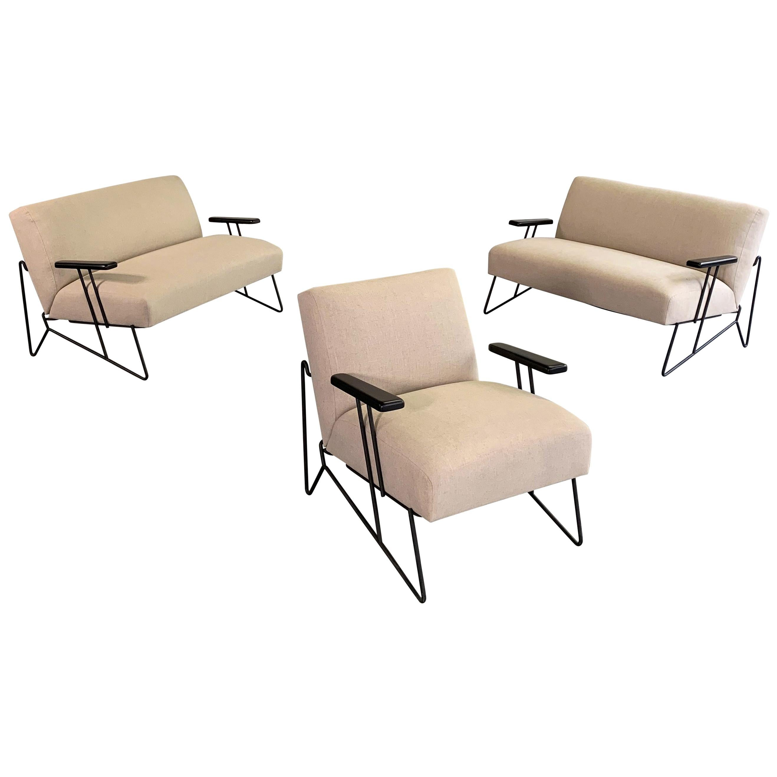 Dan Johnson for Pacific Iron Settees and Lounge Chair Set