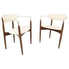Dan Johnson for Selig Viscount Midcentury Walnut and Brass Dining Chairs, Pair