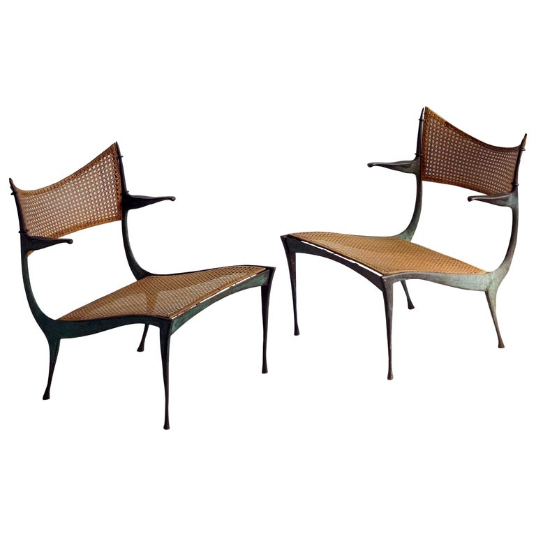 """Dan Johnson, """"Gazelle"""" Lounge Chairs, Patinated Bronze, Cane, Italy, circa 1955 For Sale"""