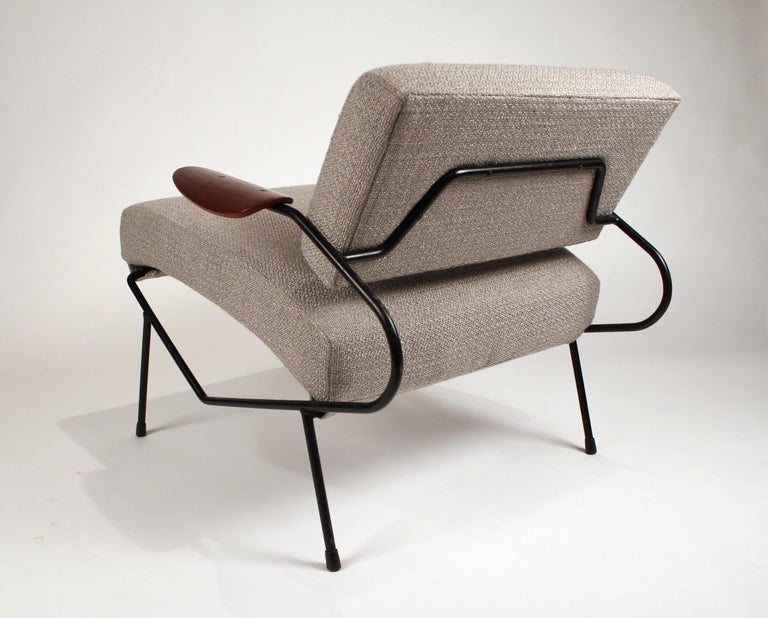 Mid-Century Modern Dan Johnson Iron Lounge Chair with Bent Walnut Plywood Armrests For Sale