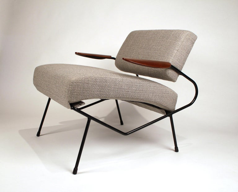 American Dan Johnson Iron Lounge Chair with Bent Walnut Plywood Armrests For Sale