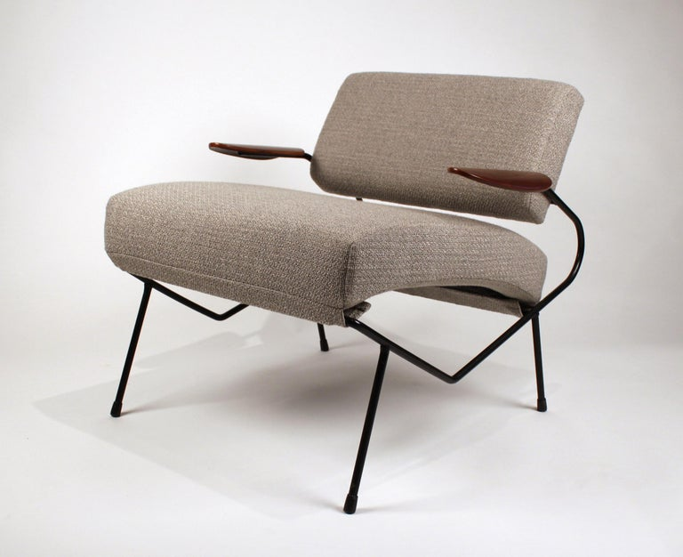Enameled Dan Johnson Iron Lounge Chair with Bent Walnut Plywood Armrests For Sale