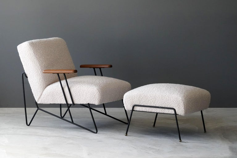 A rare lounge chair with ottoman, designed by Dan Johnson, produced by Pacific Iron, America, 1950s. In original black lacquered metal, reupholstered in brand new high-end bouclé fabric.  Other designers of the period include T.H.