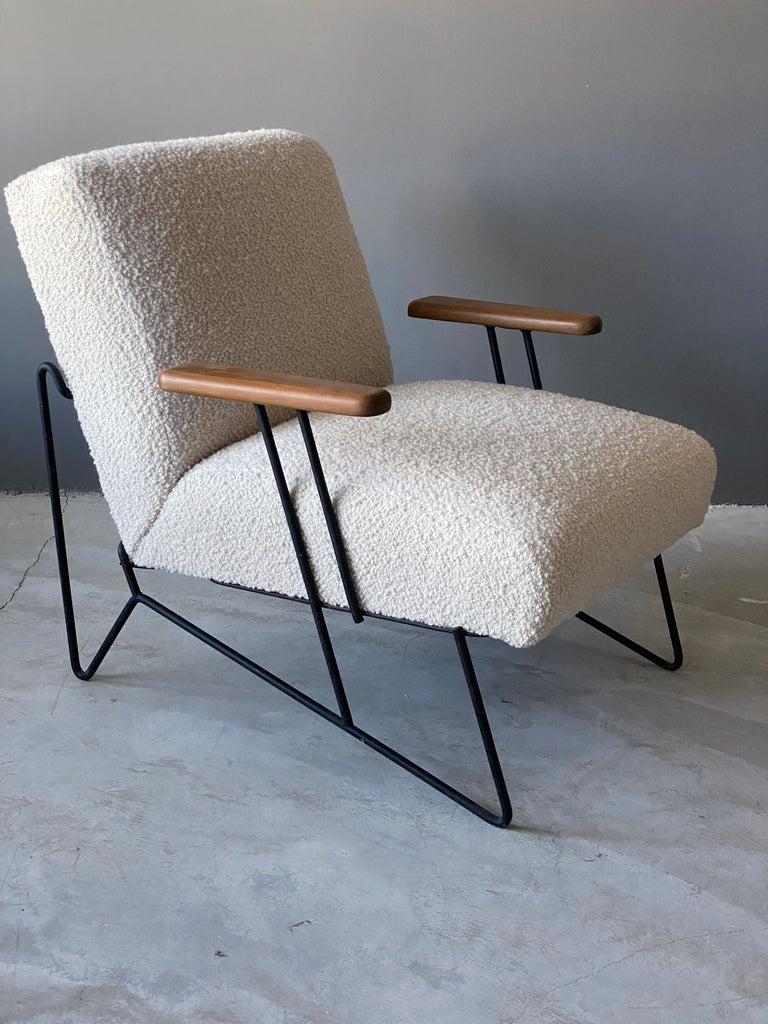 Mid-Century Modern Dan Johnson, Lounge Chair W Ottoman, Lacquered Steel Wood, Bouclé, America 1950s