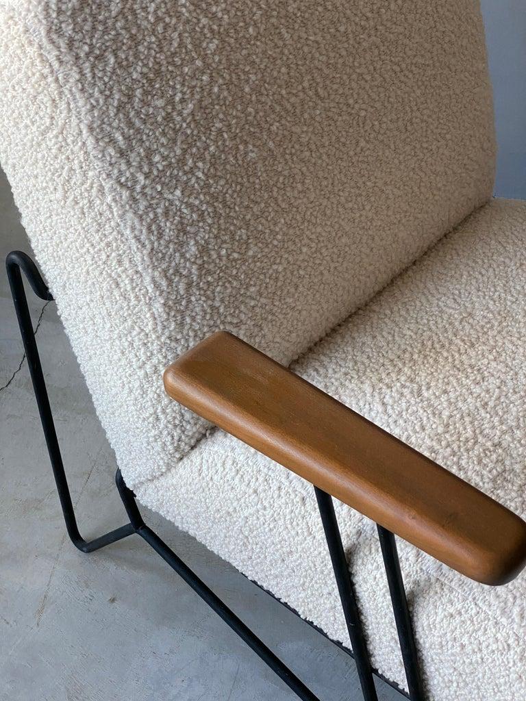 American Dan Johnson, Lounge Chair W Ottoman, Lacquered Steel Wood, Bouclé, America 1950s