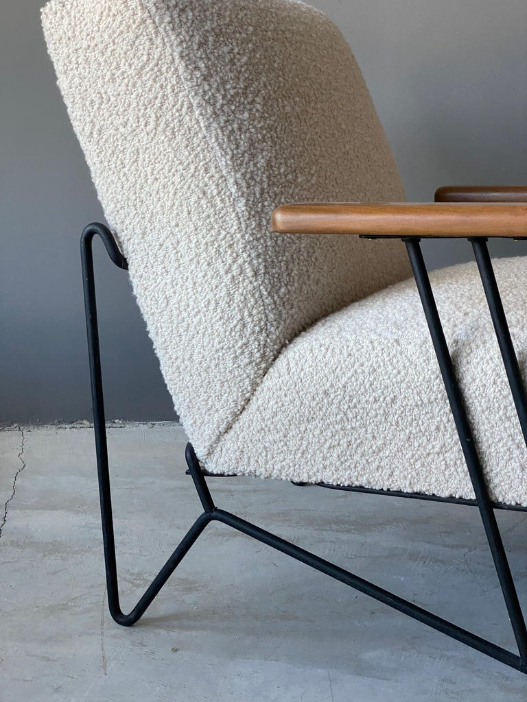 Dan Johnson, Lounge Chair W Ottoman, Lacquered Steel Wood, Bouclé, America 1950s In Good Condition In West Palm Beach, FL