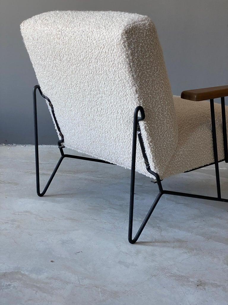 Mid-20th Century Dan Johnson, Lounge Chair W Ottoman, Lacquered Steel Wood, Bouclé, America 1950s