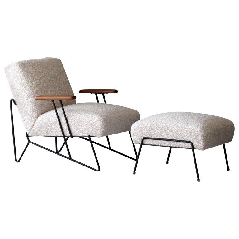 Dan Johnson, Lounge Chair W Ottoman, Lacquered Steel Wood, Bouclé, America 1950s