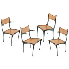 "Dan Johnson Patinated Bronze and Cane ""Gazelle' Chairs, USA, 1950s"