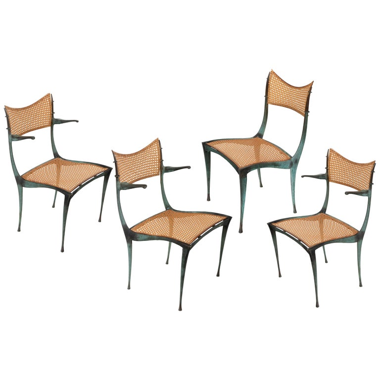"""Dan Johnson Patinated Bronze and Cane """"Gazelle' Chairs, USA 1950s For Sale"""