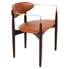 "Dan Johnson ""Viscount"" Brass Accent & Cognac Leather Armchair for Selig"