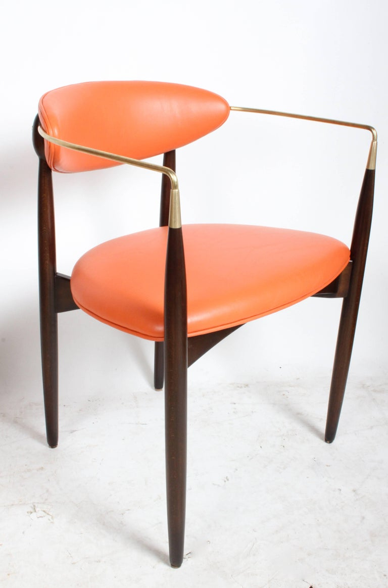 Mid-Century Modern Dan Johnson Viscount Brass Armchairs, circa 1950s, Restored For Sale
