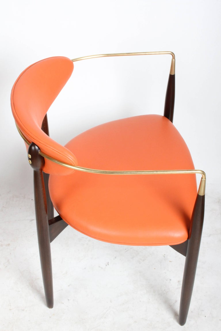 Dan Johnson Viscount Brass Armchairs, circa 1950s, Restored For Sale 1