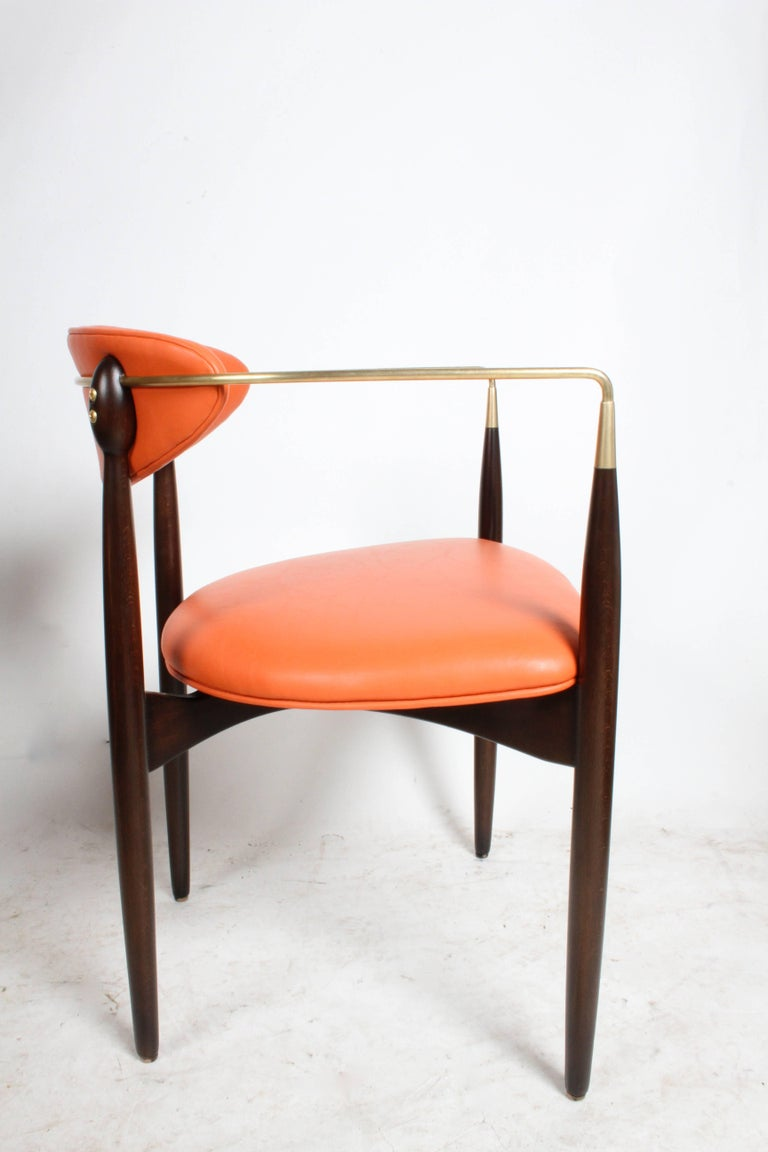 Dan Johnson Viscount Brass Armchairs, circa 1950s, Restored For Sale 2