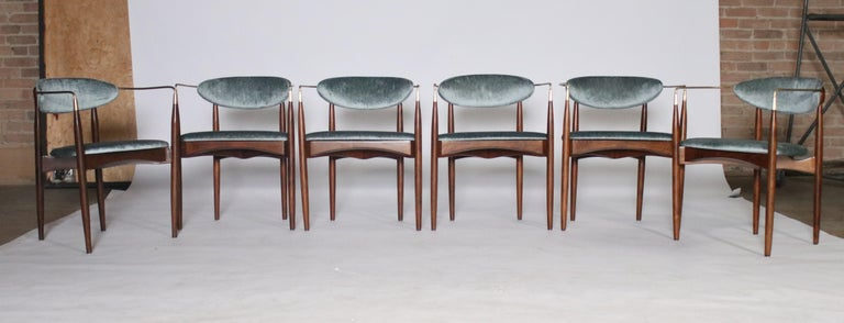 Set of 6 Viscount chairs designed by Dan Johnson all newly restored in walnut and brass details and upholstered in aqua velvet fabric.