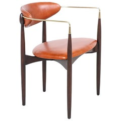 "Dan Johnson ""Viscount"" Cognac Leather and Brass Accent Armchair for Selig"