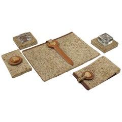 Dan Karner Art Deco Wood Fur Leather Desk Set, 5 Pieces
