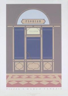 1985 After Dan Knowles 'Venice' Gray,Neutral,Blue United Kingdom Serigraph