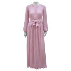 Dan Lee Couture Pale Pink Delphos Style Evening Dress, 1970's