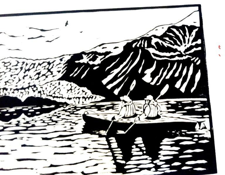 Linocut on Paper -- Aialik Glacier - Contemporary Print by Dan Mehlman