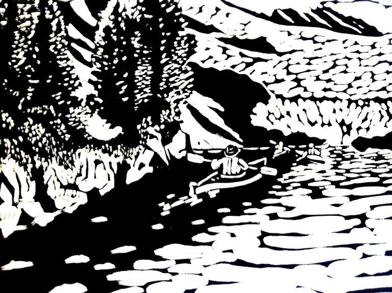 Linocut on Paper -- Aialik Glacier - Black Figurative Print by Dan Mehlman