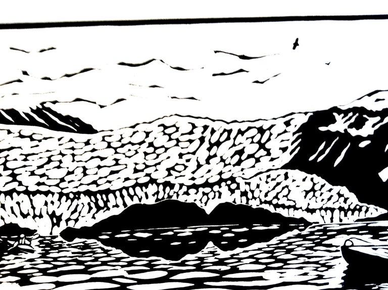 Linocut on Paper -- Aialik Glacier For Sale 1