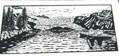 Linocut on Paper -- Aialik Glacier