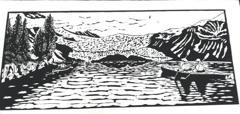 Dan Mehlman Figurative Print - Linocut on Paper -- Aialik Glacier