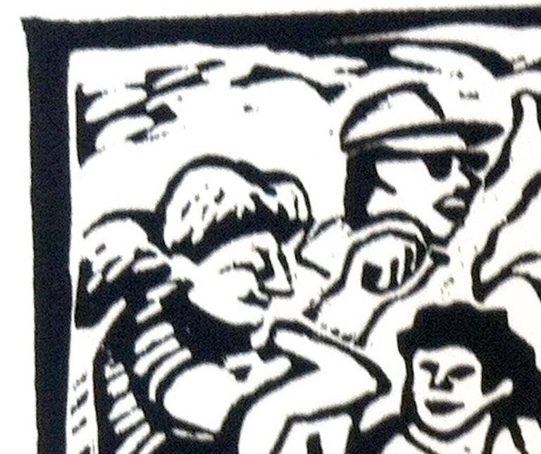 Linocut Print on Paper -- Little League For Sale 7