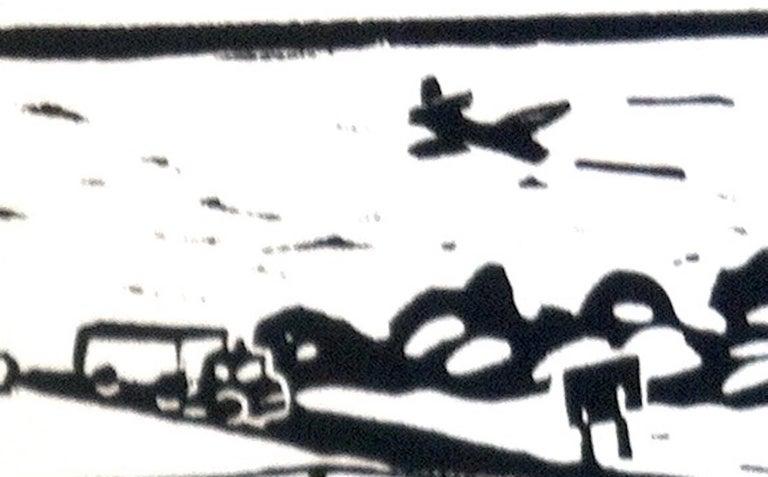 Linocut Print on Paper -- Little League For Sale 8