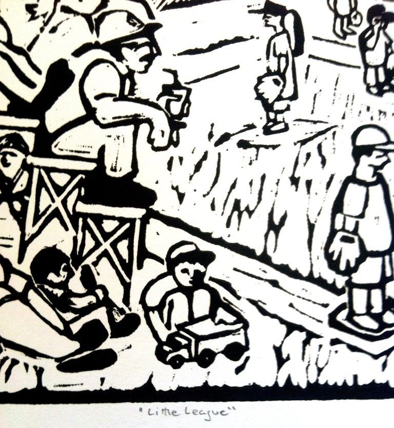 Linocut Print on Paper -- Little League - Beige Figurative Print by Dan Mehlman