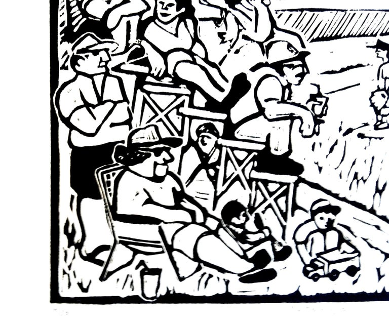 This limited edition linocut print in black and white presents a little league game, probably with a larger and more diverse audience than in real life. The artist portrays a full complement of characters, including children, intense fans keeping