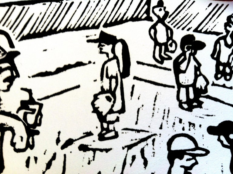 Linocut Print on Paper -- Little League For Sale 2