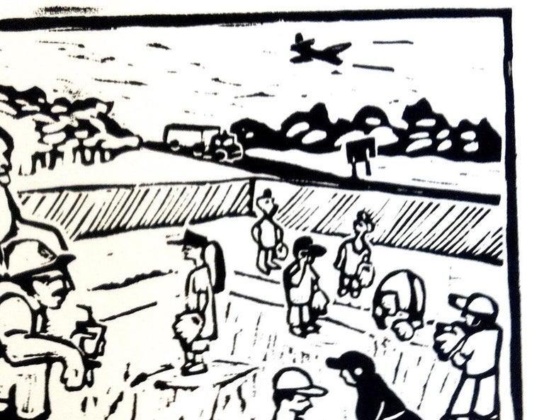 Linocut Print on Paper -- Little League For Sale 3