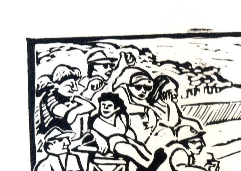 Linocut Print on Paper -- Little League For Sale 4
