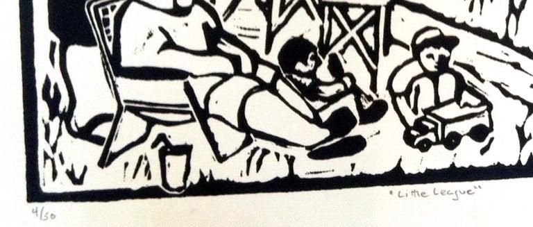 Linocut Print on Paper -- Little League For Sale 5
