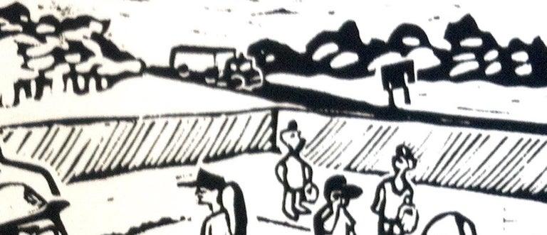 Linocut Print on Paper -- Little League For Sale 6